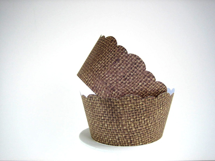 36 Burlap Cupcake Wrappers - Shabby Chic, Rustic,