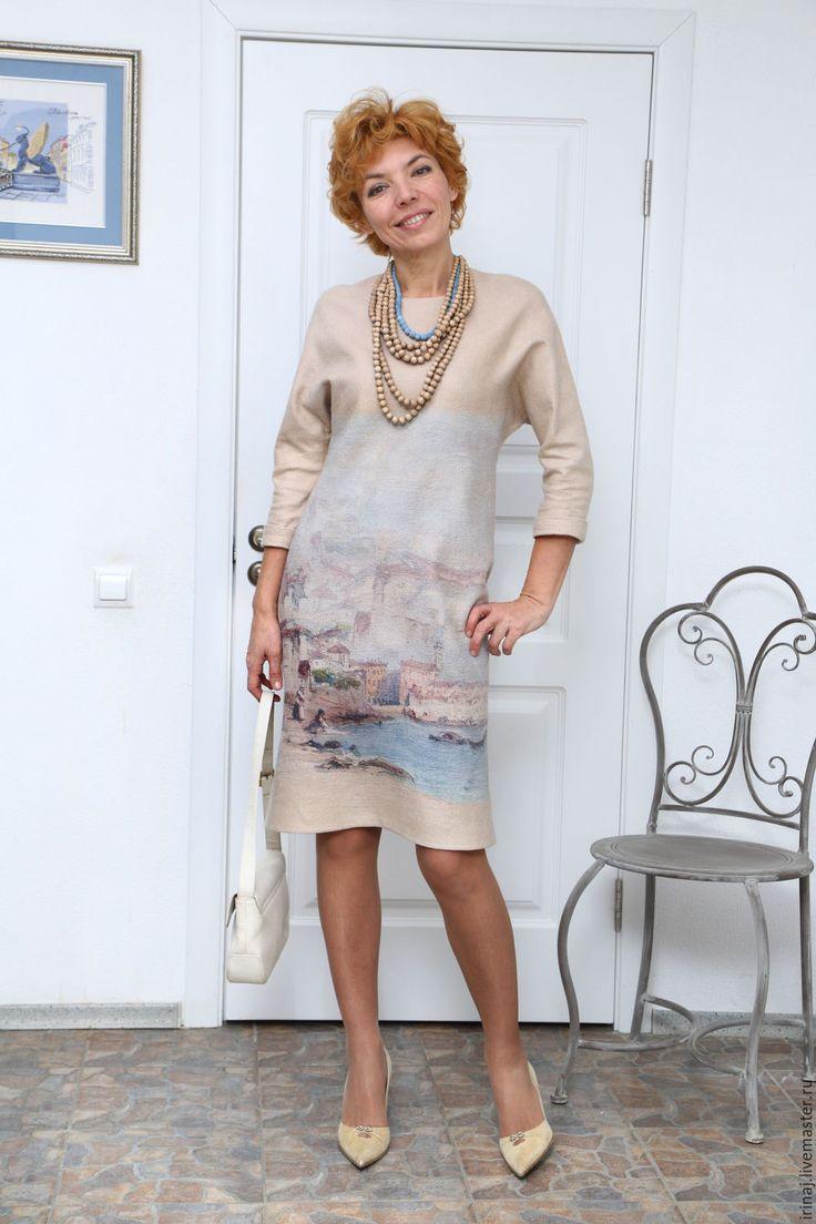 """Купить валяное платье """"Утро в Венеции"""" - платье, платье валяное, валяное платье, Коктейльное платье"""