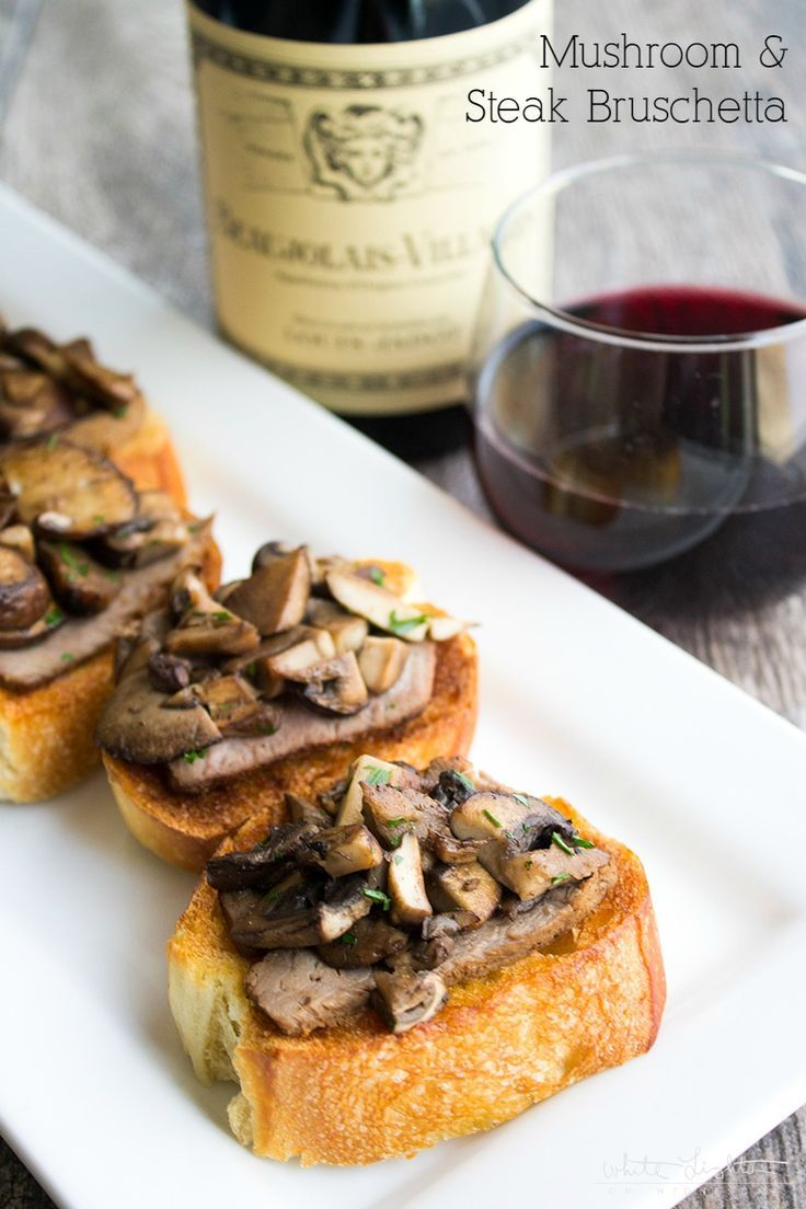 Mushroom & Steak Bruschetta is an easy to make appetizer that's perfect for everything from date night to your next cookout! #LoveJadot [AD]