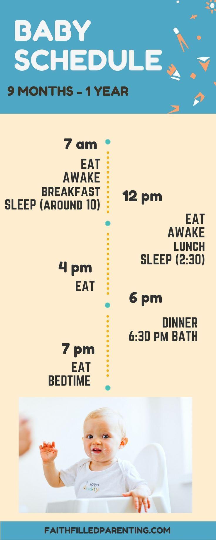 Baby sleep schedule 9 months - 1 year http://faithfilledparenting.com/4-baby-sleep-schedules-that-work/
