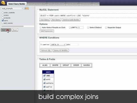 In this tour of MyQueryBuilder.com, we will introduce you to the SELECT Query Builder. A drag 'n' drop interface for building complex SQL query statements.