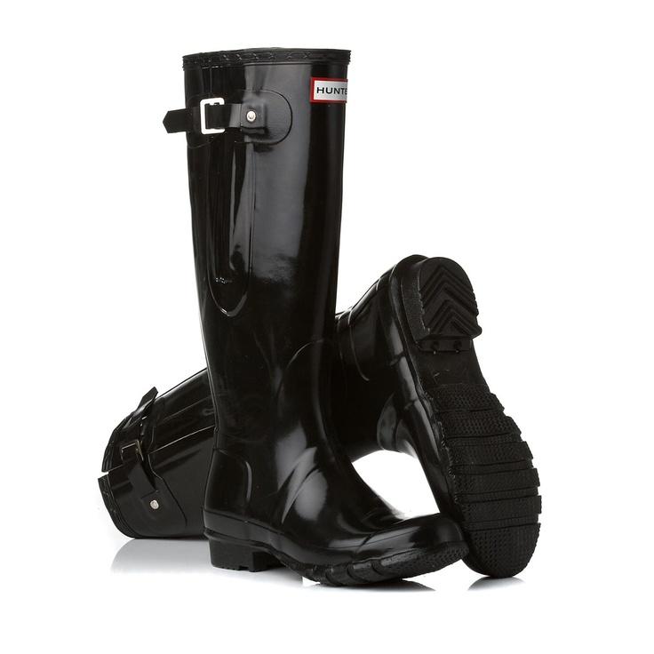 Hunter Wellington Boots - Hunter Original Adjustable Gloss Wellington Boots - Black