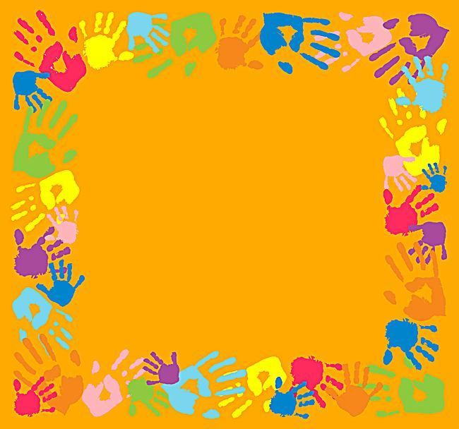 Vector School Children Handprints Border Creative Educational