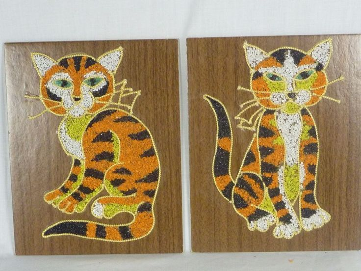 Pr Vintage Mid Century Tiger Striped Cat Gravel Mosaic Pebble Art