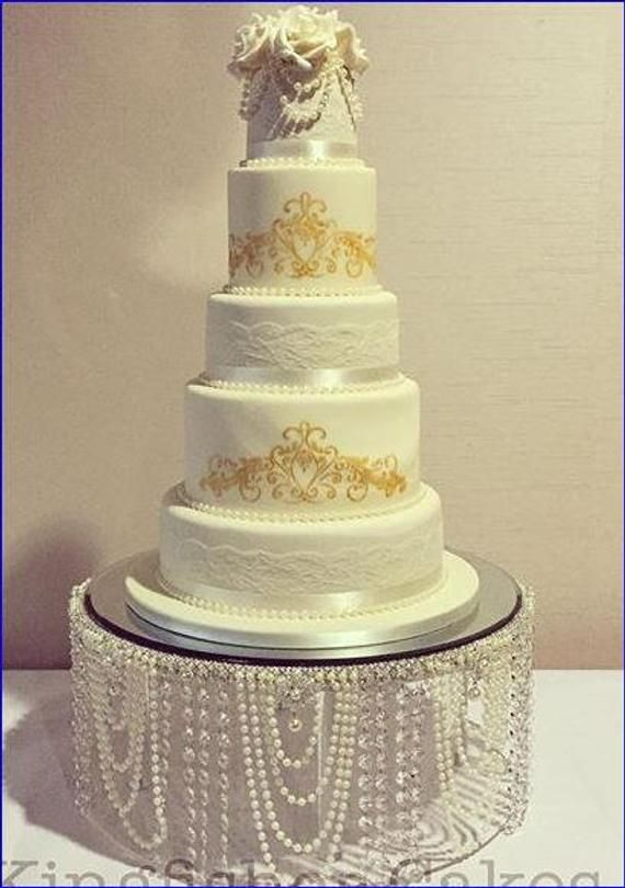 Pearl Wedding Cake Stand Pearl Crystal Cake Plate Etsy Wedding Cake Stands Wedding Cake Pearls Crystal Cake