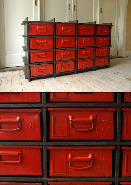 Industrial style storage bins---love the bright red!