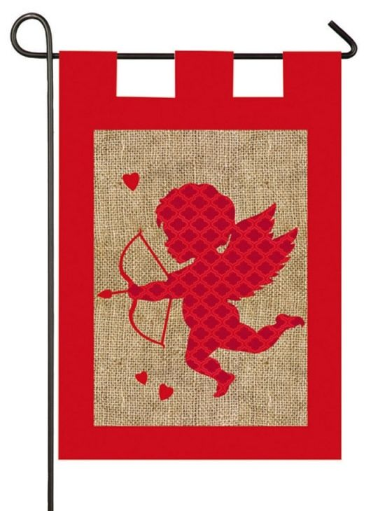 *New* Valentine Burlap Garden Banner Is An Employee Favorite Already.  Burlap Is The Newest Trend In Home And Garden Flags.