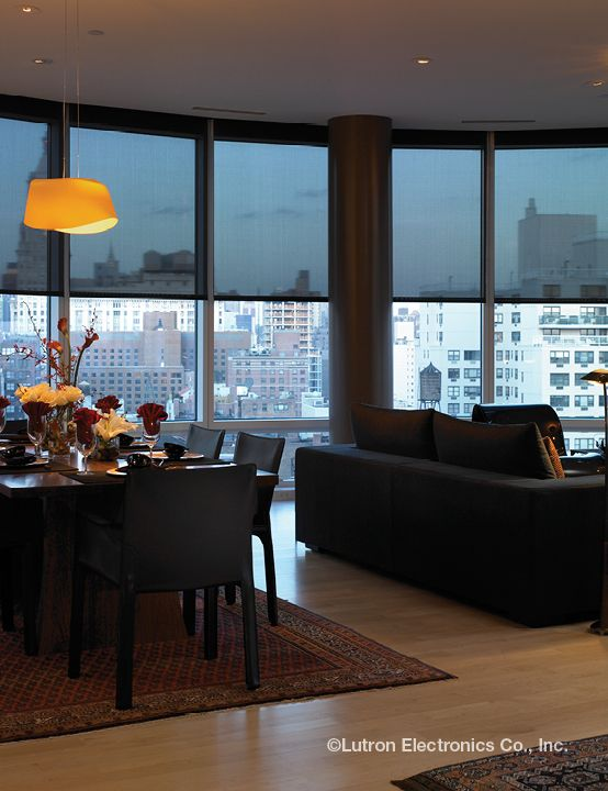 Beautiful Skyline Maintained With Motorized Roller Shades
