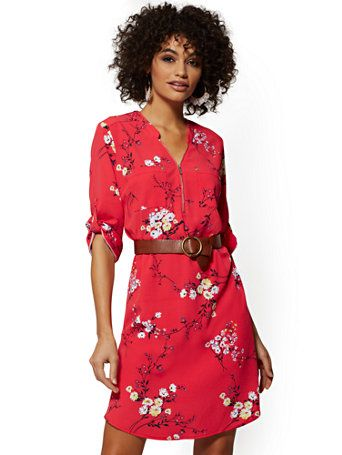 8c9c011aa3 Shop Navy Floral Zip-Front Shirtdress. Find your perfect size online at the  best price at New York & Company.