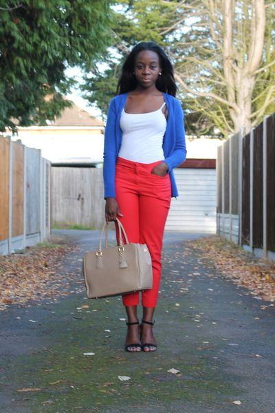 beige other bag - red H pants - white Primark top - green Primark heels