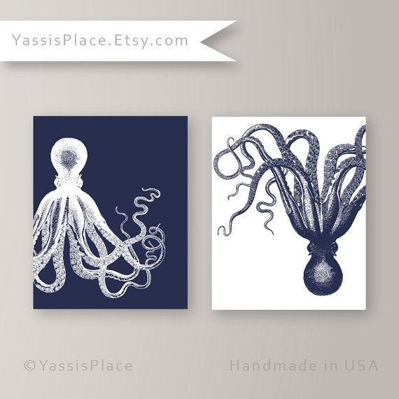 Octopus Art Nautical Decor Kraken Art Marine Print by YassisPlace