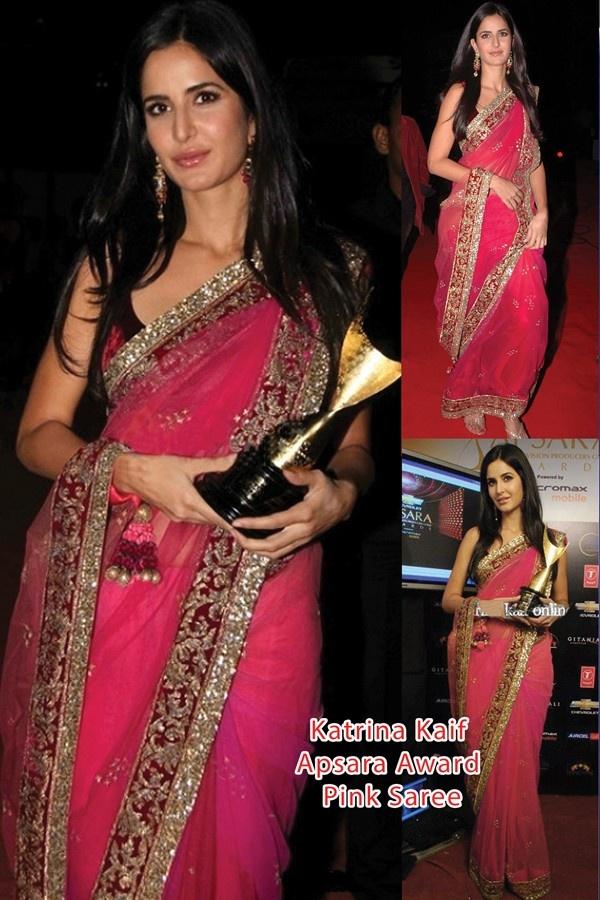 Katrina Kaif Apsara Award Pink Net Saree