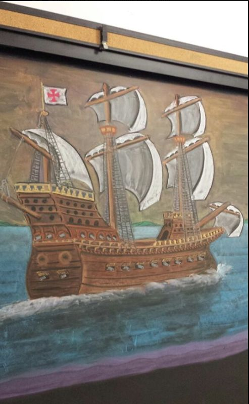 Age of Exploration chalk drawing—grade 7