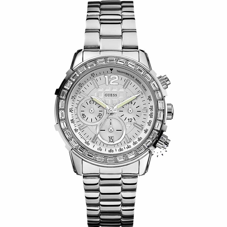 GUESS Crystal Chronograph Stainless Steel Bracelet Μοντέλο: W0016L1 Τιμή: 194€ http://www.oroloi.gr/product_info.php?products_id=30171