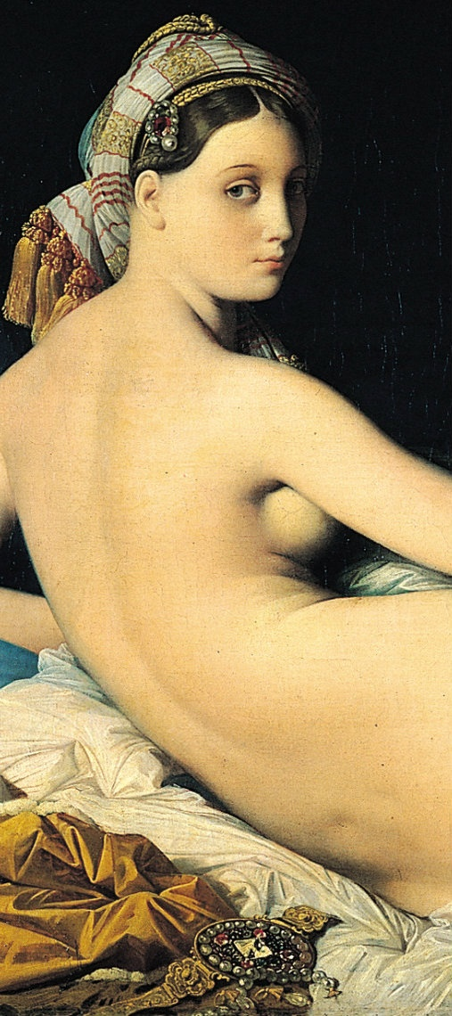 Detail of La Grande Odalisque Jean-Auguste-Dominique Ingre; 29 August 1780 – 14 January 1867) was a French Neoclassical painter. Although he considered himself to be a painter of history in the tradition of Nicolas Poussin and Jacques-Louis David, by the end of his life it was Ingres's portraits, both painted and drawn, that were recognized as his greatest legacy.