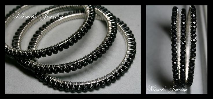 Black wire wrapped bangles.Wire Wraps Bangles, Black Wire