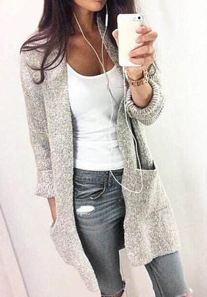 Chic gris à manches longues col de poche design Cardigan pour les femmes