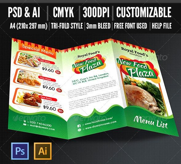 91 best food brochure images on Pinterest Leaflets, Flyers and - microsoft tri fold brochure template free