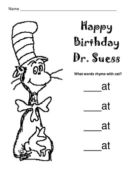 Dr. Suess / Cat in the Hat Rhyming Worksheet Dr seuss