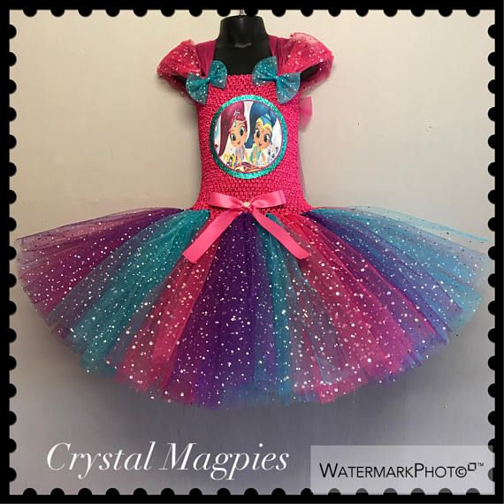 Shimmer and Shine inspired tutu party dress with full sparkle