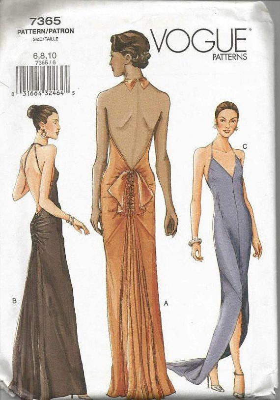 Backless Bias Cut Evening Dress Halter Neckline Back by kinseysue