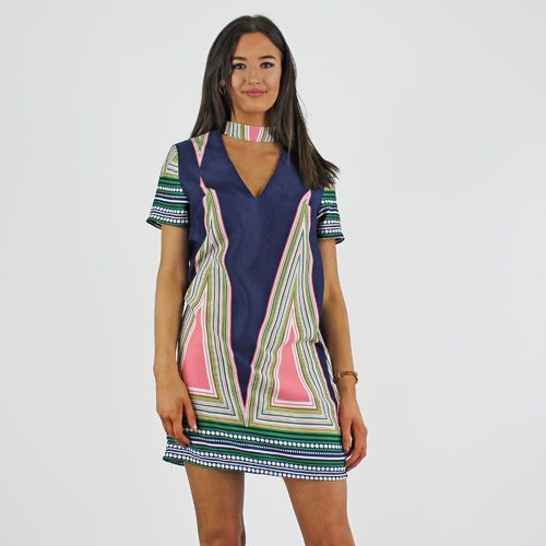 PinkCad Navy Pink & Green Patterned V Choker Neck Short Sleeve Dress…
