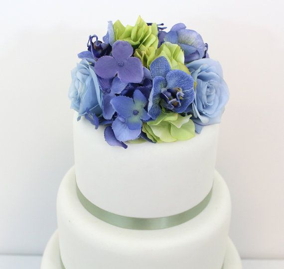 blue orchid wedding cake topper wedding cake topper green periwinkle hydrangea blue 11998