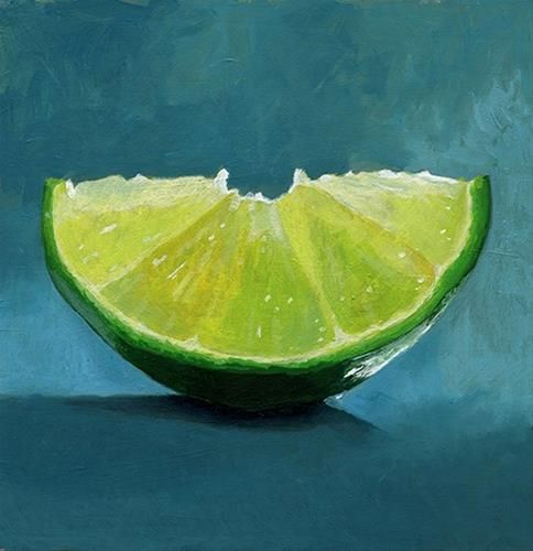"Daily Paintworks - ""lime slice acrylic painting"" - Original Fine Art for Sale - © Ria Hills"