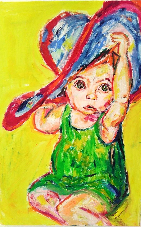 """Kleines Mädchen, großer Hut"" Künstler: Doro Mahlendorf Öl auf Leinwand 60cm x 40cm x 1,7cm #doromahlendorf #malerei #oel #crelala"