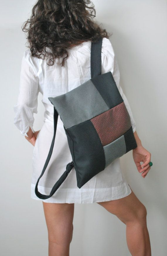 Convertible backpack Crossbody bag Gray black waterproof