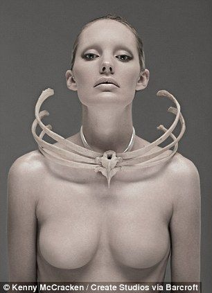 Macabre fashion: A necklace made from a human ribcage, left, donated to the artists by a university medical department and a striking bolero...