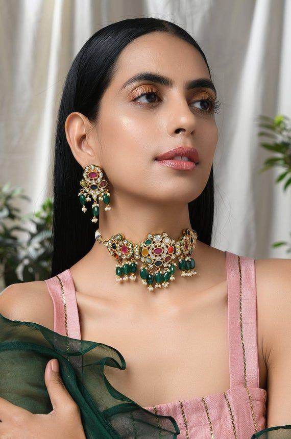 Choker Necklace Kundan Bridal Jewelry Sabyasachi Designer Collar Indian Traditional Gold Plated Ethnic Jewellery Contemporary Art Jewelry