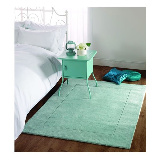 Tuscany Duck Egg Blue Wool Rug 80x150cms £69.00 - Rugs 80x150 cms approx at www.thesofathrowcompany.com