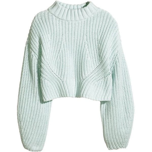 H&M Cropped jumper (215 ILS) ❤ liked on Polyvore featuring tops, sweaters, jumpers, shirts, mint green, chunky knit sweater, long shirts, long sleeve jumper, long sleeve sweaters and green top