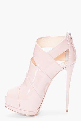 GIUSEPPE ZANOTTI   Glossy leather platform heels in nude