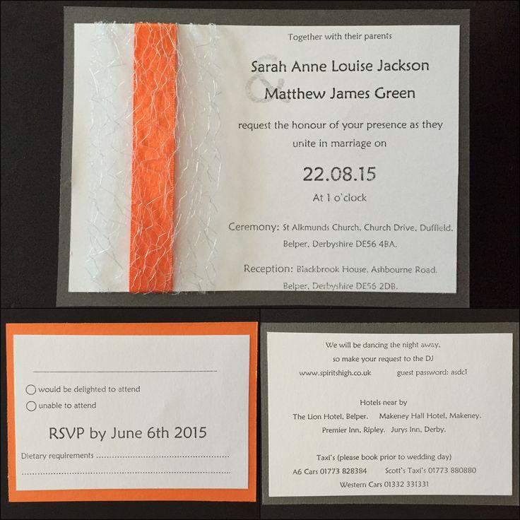 Invitation pack. Handmade. Orange, yellow, grey & white theme.