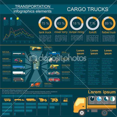 货物运输信息图表、 卡车、 货车。元素 infog — 图库矢量图像© A7880S #53742787