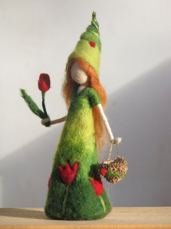Needle felted waldorf inspired doll Its time for the tulip girl to come on Etsy, $58.00