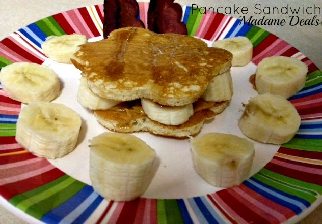 Pancake Recipes for Kids: Pancake Sandwich! Put a spin on plain pancakes by making this super cute breakfast that your kids will love!