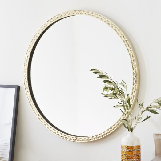 Thin textured brass round mirror west elm want for Thin wall mirror