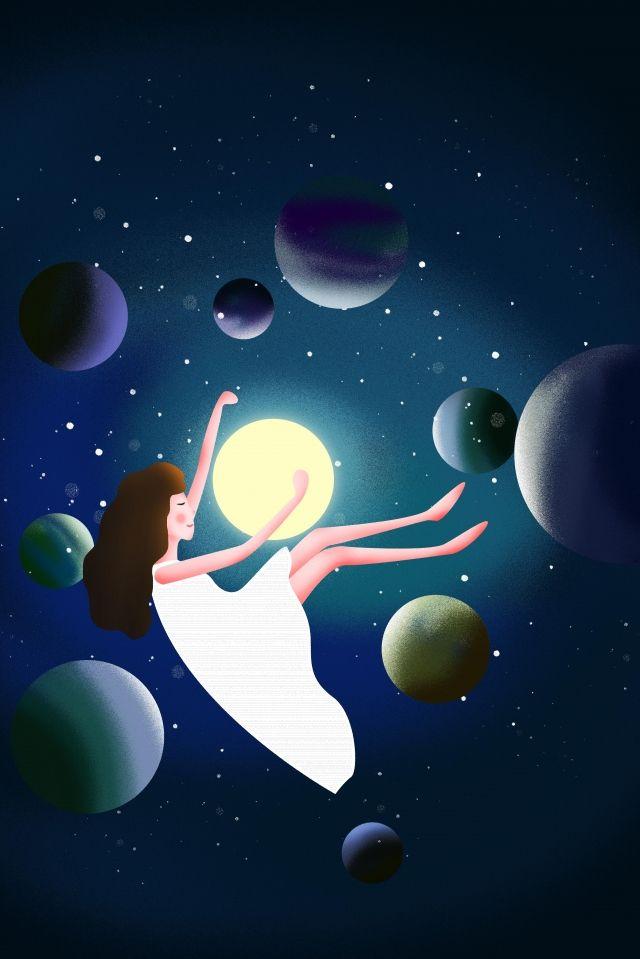 رائد فضاء الكون كوكب الفضاء السماء المليئة بالنجوم رسمت باليد كرتون صورة توضيحية على Pngtree غير محفوظة الحقوق Space Planets Planets Universe