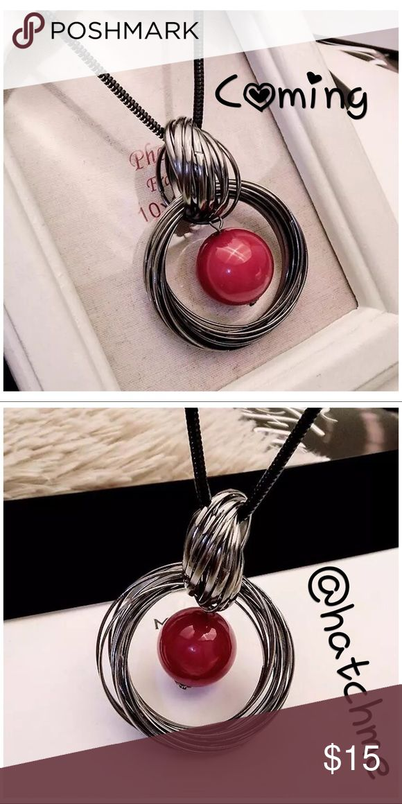 Long Statement w/Round Red Pendant Long Statement w/Round Red Pendant. Dark Chain Color.  Shape\patternGeometric Chain Type: Link Chain Pearl TypeSimulated-pearl Metals TypeZinc Alloy ShapePerfectly Round Jewelry Necklaces