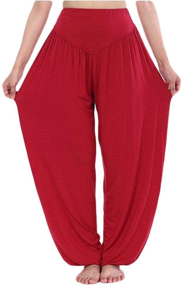 f3d15b2d3d Amazon.com: AvaCostume Womens Modal Cotton Soft Yoga Sports Dance Harem  Pants, XL, Red: Clothing