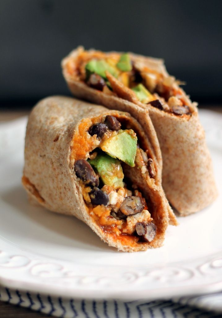 Healthy Sweet Potato, Black Bean & Avocado Breakfast Burritos - freezer-friendly, easy to make, and so delicious!