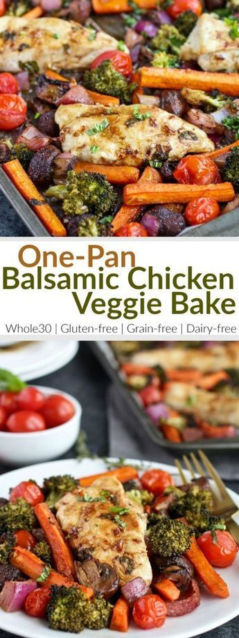 Healthy, easy & delicious! One-Pan Balsamic Chicken Veggie Bake is quick to prep and in the oven for less than 20 minutes. | gluten-free dinner recipes | dairy-free dinner recipes | whole30 dinner recipes | whole30 chicken recipes | healthy dinner recipes