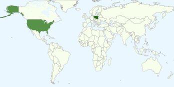 Wykres najpopularniejszych krajów wśród przeglądających bloga