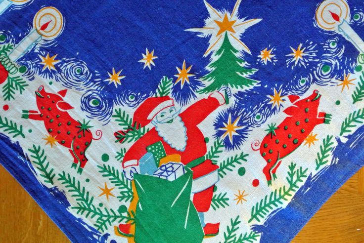 Funny Swedish vintage 1950s larger printed cotton christmas design table-cloth with candle/ pig/ Santa Claus motives