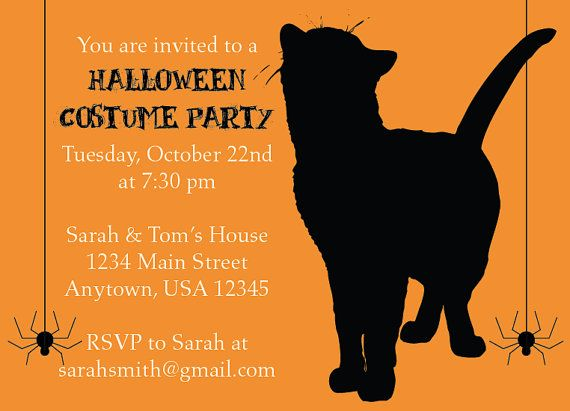 Black Cat and Spider Halloween Costume Party Invitation by NestedExpressions, $20