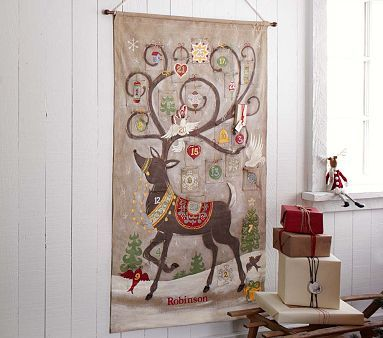 """$149 Reindeer Painted Advent Calendar #PotteryBarnKids --- DIY inspiration for a hand painting project. Use craft paint (but never wash) on tight woven fabric like linen canvas. Sew on pockets first for an advent calendar. Sew on jingle bells or other ornamentations. Hang on simple wooden dowel. 36"""" wide x 58"""" high"""