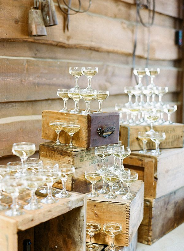 Rustic Wedding Bar with Vintage Champagne Glasses | Connie Whitlock Photography | http://heyweddinglady.com/rustic-elegance-ranch-wedding-shoot-dusty-blue/